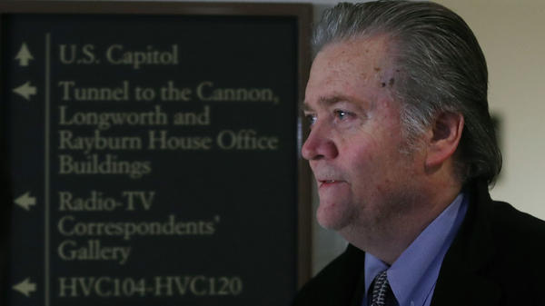 Steve Bannon, former adviser to President Trump, arrives at a House Intelligence Committee closed-door meeting, on Tuesday in Washington, D.C.