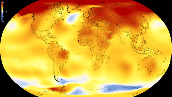 Yellows, oranges and reds show regions where the average temperature from 2013 to 2017 was higher than a baseline average from 1951 to 1980, according to an analysis by NASA's Goddard Institute for Space Studies.