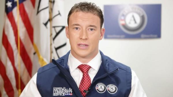 Carl Higbie has resigned his post at the Corporation for National and Community Service after racist and anti-Muslim comments were reported by CNN. He's seen here in one of the agency's videos.