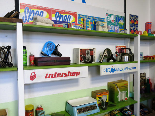 "Part of the '60s-era ""remembrance room"" at AlexA Residence for Senior Citizens in Dresden is set up to look like a popular East German, communist-era market called ""Intershop."""
