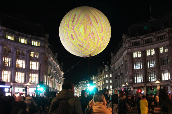 <em>Origin of the World Bubble 2018 </em>is located above Oxford Circus.