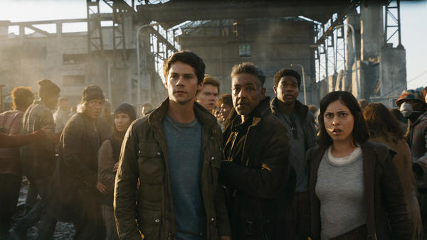 In the <em>Maze Runner: The Death Cure,</em> a group of teenagers are tasked with saving the world. L to R: Thomas (Dylan O'Brien), Newt (Thomas Brodie-Sangster), Cranks leader Jorge (Giancarlo Esposito), Frypan (Dexter Darden) and Brenda (Rosa Salazar).