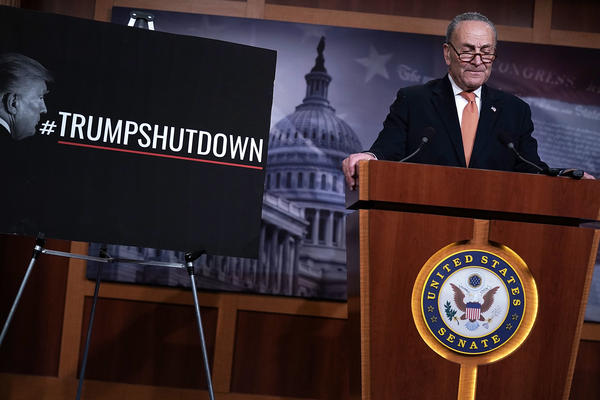 Senate Minority Leader Chuck Schumer, D-N.Y., speaks during a news conference Saturday on Capitol Hill in Washington, D.C.