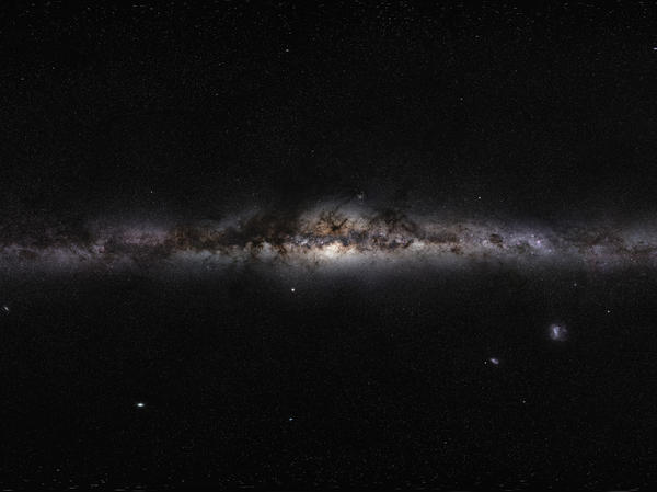 The plane of the Milky Way Galaxy, which we see edge-on from our perspective on Earth. The projection used in ESO's GigaGalaxy Zoom project gives the impression of looking at the Milky Way from the outside.