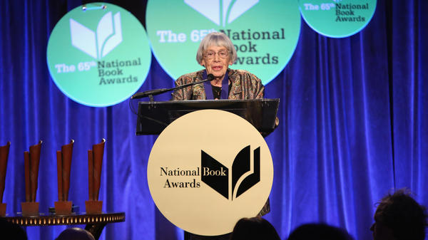 Ursula K. Le Guin speaks at the 2014 National Book Awards, where she was presented with lifetime achievement honors.