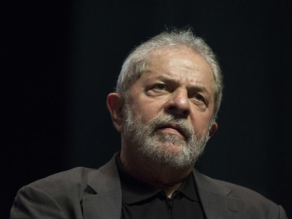 Former Brazilian President Luiz Inacio Lula da Silva, seen speaking at a rally in summer 2016.