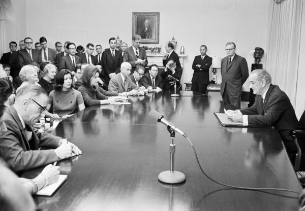 President Lyndon Johnson prepares to open a press conference in the Cabinet room of the White House on Feb. 2, 1968, when he announced that U.S. and North Korean officials were meeting to discuss the USS Pueblo.