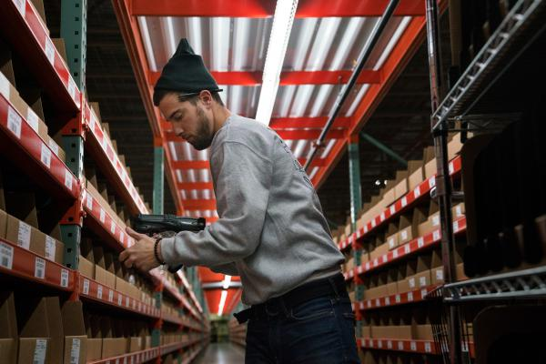 Chris Beatty, 26, works at a Radial warehouse in Burlington, N.J.