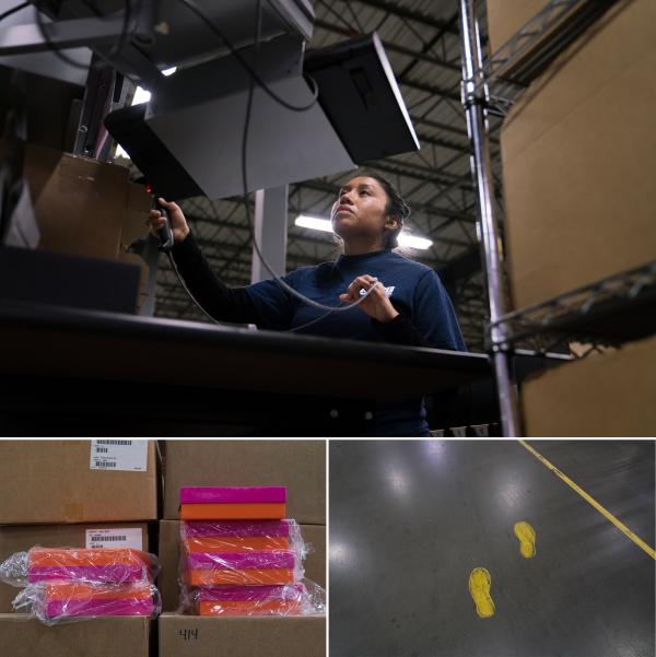 (Top) Bibiana Ramos, 29, works with precision, folding tissue paper inside a special box, placing cosmetics on top and gently affixing the shipping label. (Bottom left) Many different kinds of boxes are used throughout the warehouse, some for bulk items, and other more delicate boxes that are sent to consumers. (Bottom right) Painted footprints help direct employees safely and efficiently.