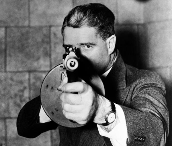 The 1936 film <em>You Can't Get Away With It </em>about the FBI portrays a typical G-man of the era, complete with machine gun.