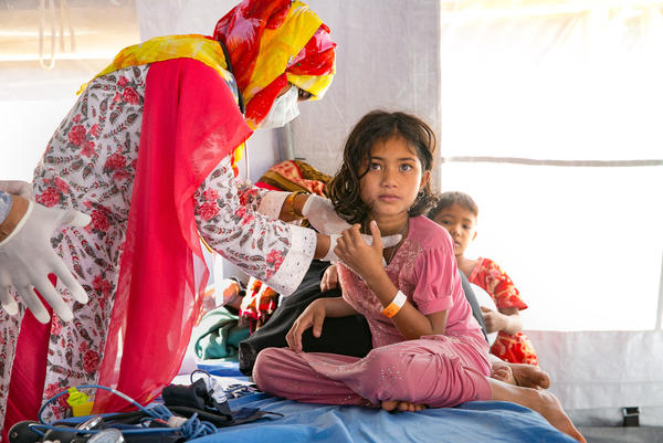 Patients are treated at the Samaritan's Purse diphtheria clinic in the Balukhali Rohingya refugee camp in Chittagong district, Bangladesh.