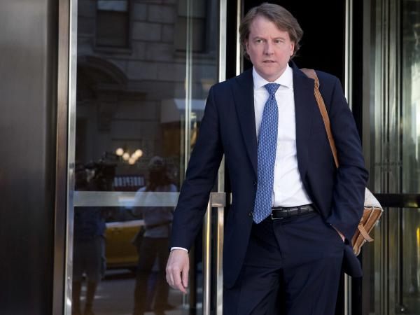 Don McGahn leaves the Four Seasons hotel in New York in June 2016. McGahn reportedly threatened to quit his job as White House counsel last summer when President Trump ordered the firing of special counsel Robert Mueller.