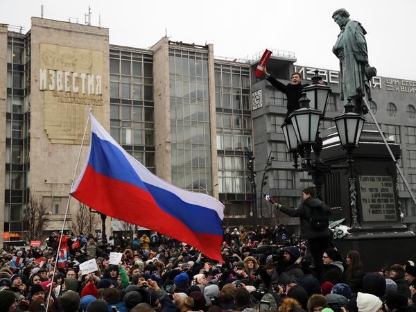 Protesters gather during a rally at Pushkin square in Moscow on Sunday.