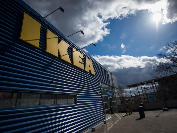 The logo of IKEA is pictured outside Europe's biggest Ikea store in Kungens Kurva, south-west of Stockholm in 2016.