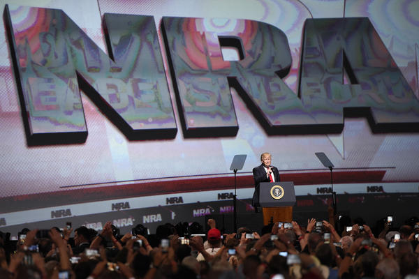 President Trump speaks at the National Rifle Association's annual meeting on April 28, 2017, in Atlanta.