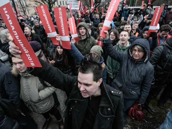 "Supporters of Alexei Navalny at the rally ""protest voters"" in St. Petersburg, Russia, on Monday."