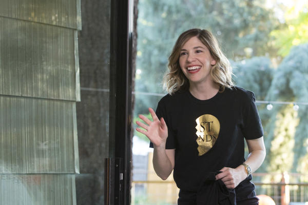 Carrie Brownstein on the set of <em>Portlandia</em>. Brownstein is currently adapting her 2015 memoir, <em>Hunger Makes Me A Modern Girl</em>, for a Hulu pilot.