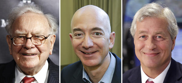 "Berkshire Hathaway Chairman and CEO Warren Buffett (left) in 2017; Jeff Bezos, CEO of Amazon, in 2013; and JP Morgan Chase Chairman and CEO Jamie Dimon in 2013. Berkshire Hathaway, Amazon and JPMorgan Chase are teaming up to create a health care company announced Tuesday that is ""free from profit-making incentives and constraints."""
