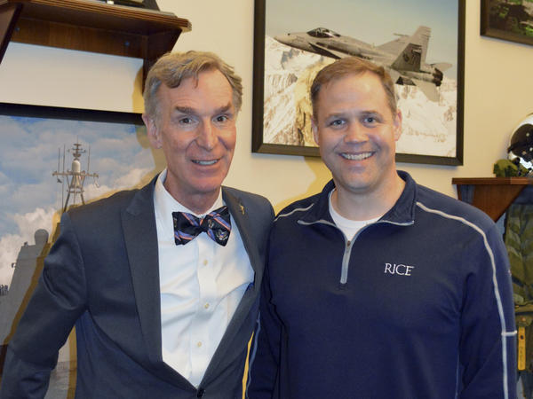 Bill Nye (left) and Rep. Jim Bridenstine pose in a photo from February 2017 that was provided by the office of Congressman Jim Bridenstine.