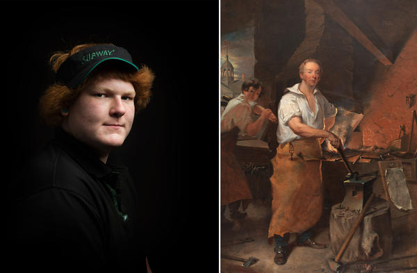 Left: <em>Kean, Subway Sandwich Artist</em> by Shauna Frischkorn. Right: <em>Pat Lyon at the Forge</em> by John Neagle.