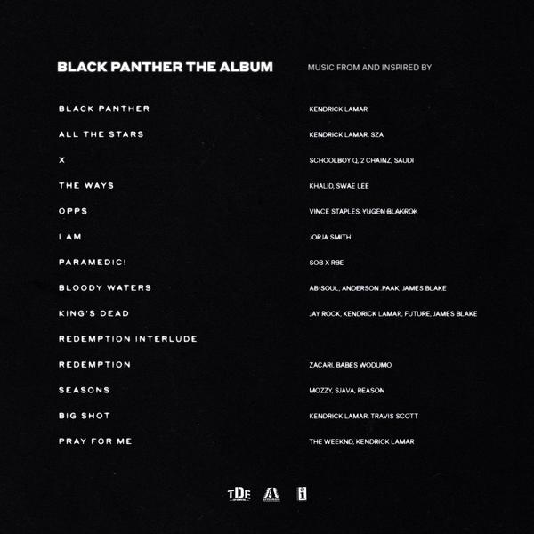 The tracklist to the soundtrack of <em>Black Panther</em>.