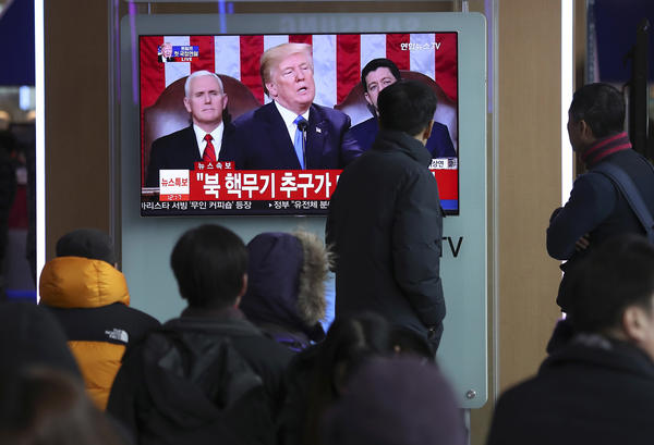 President Trump's State of the Union address is broadcast at a railway station in Seoul, South Korea, on Wednesday. The White House is no longer considering Victor Cha for the South Korea ambassadorship.
