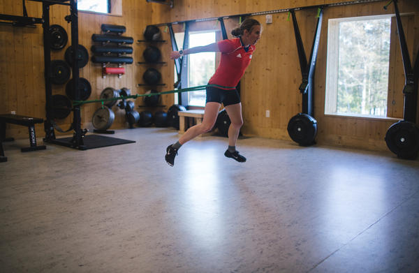 Dunklee, who competed in biathlon at the 2014 Winter Olympics in Sochi, trains at the Craftsbury Outdoor Center in Craftsbury, Vt.
