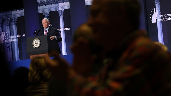 Vice President Pence addresses a dinner Wednesday at the 2018 Republican retreat at the Greenbrier resort in White Sulphur Springs, W.Va.