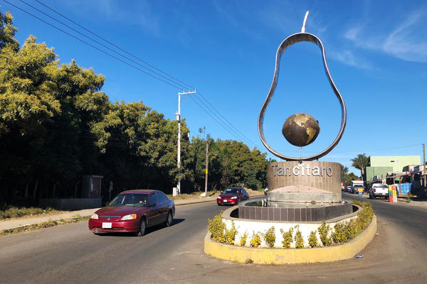 A silhouette of an avocado in the traffic circle at the entrance to Tancitaro. The popularity of avocados in the U.S. is making some in Tancitaro rich.