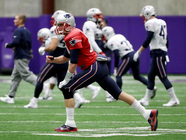 Patriots quarterback Tom Brady warms up during practice on Jan. 31, 2018, in Minnesota. The Patriots will play the Philadelphia Eagles in Super Bowl LII on Sunday.