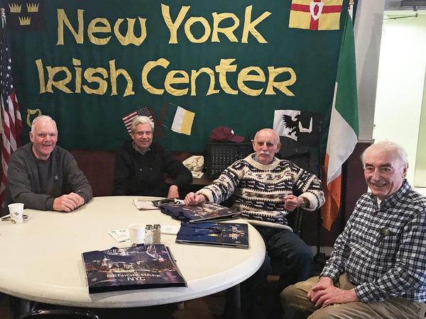 From left to right, Tommy Shiels, Dennis Hayden, John Houlihan and Thomas Ring attend the New York Irish Center's weekly luncheon for seniors in Queens, N.Y. Many attendees say they support the 2020 census asking white people about their origins.