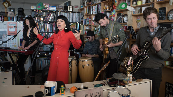 Hurray For the Riff Raff performs a Tiny Desk Concert on Nov. 20, 2017 (Claire Harbage/NPR).