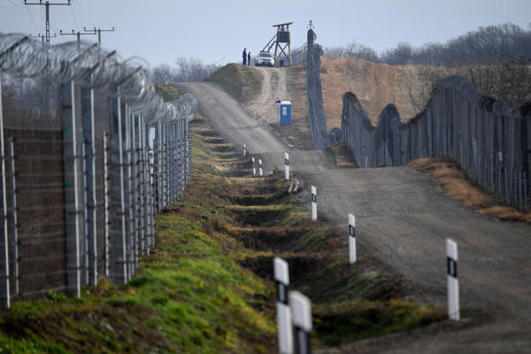 Border soldiers patrol along the border fence at the Hungarian-Serbian border near Hercegszanto border station on December 14, 2017. Since July 2015 Hungary secured the more than 300-km-long border to Serbia with the construction of a fence and 24 hours a day security patrol tasks.