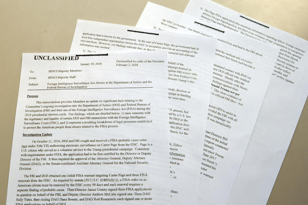 The Nunes intelligence memo is photographed in Washington, D.C., on Friday after its declassification and release.