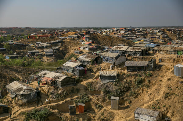 A view of the Balukhali refugee camp in Bangladesh. Aid workers worry that the hillsides could collapse during the heavy monsoon rains.