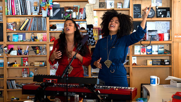Ibeyi performs a Tiny Desk Concert on Nov. 1, 2017 (Jennifer Kerrigan/NPR).