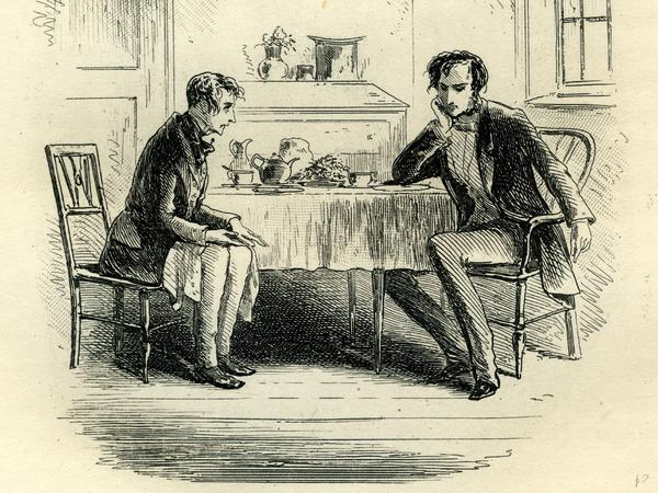 At Mr. John Chivery's Tea-table. An illustration from Charles Dickens' <em>Little Dorrit</em>, originally published in serial form between 1855 and 1857.
