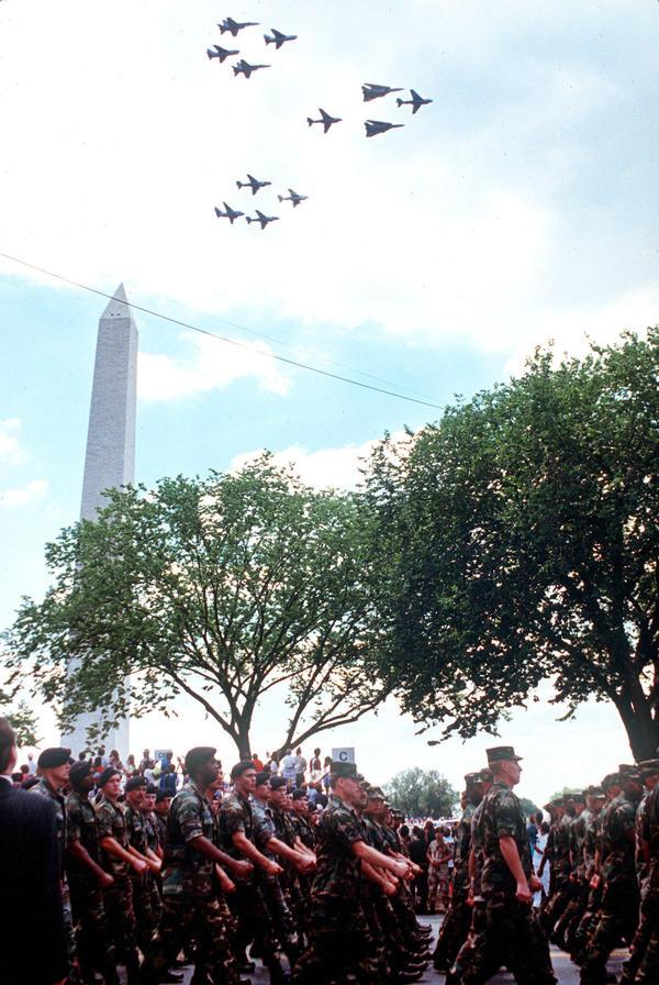 Gulf War veterans on parade in Washington, D.C., in June 1991.