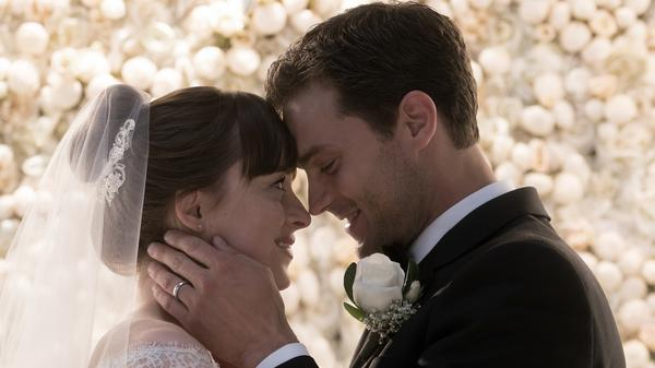 Dakota Johnson and Jamie Dornan as Anastasia Steele and Christian Grey, who are finally married.