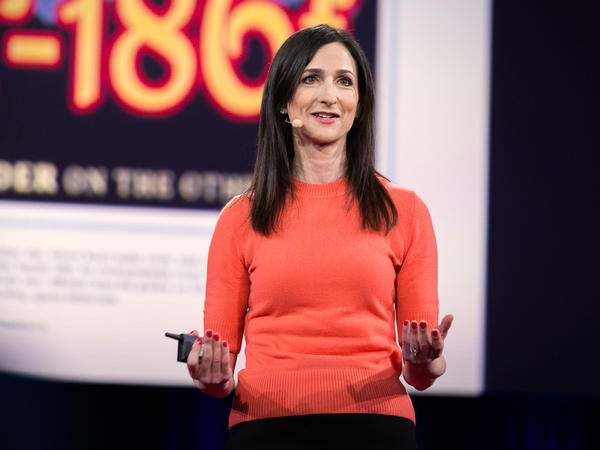 Sara Seager speaks on the TED stage.