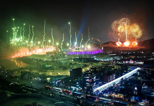 Some 20,000 fireworks were set off during the opening ceremony at the Pyeongchang Stadium.