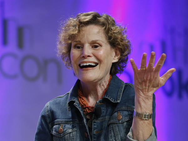 Author Judy Blume speaks about her book, <em>In the Unlikely Event</em>, in 2015.