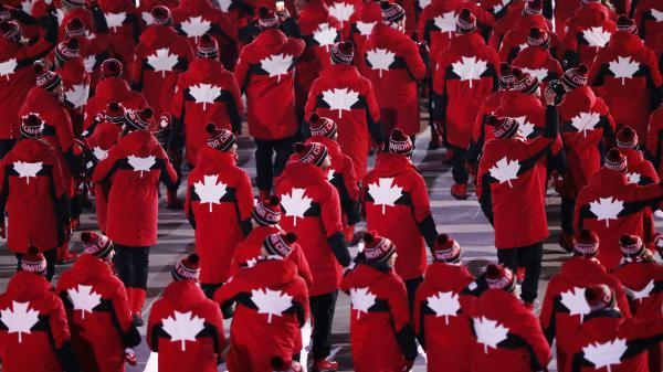 Team Canada, walking during the Opening Ceremony of the Pyeongchang Winter Olympic Games on February 9, 2018. If any of its members win a gold medal, they'll be hearing a new version of their national anthem.