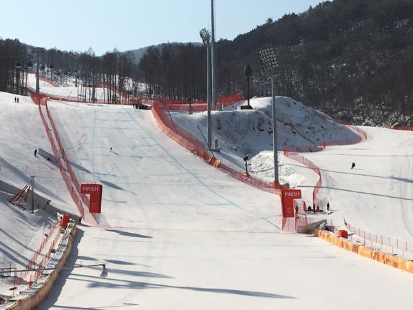 The finish line for the Olympic downhill at the Jeongseon Alpine Center in South Korea.