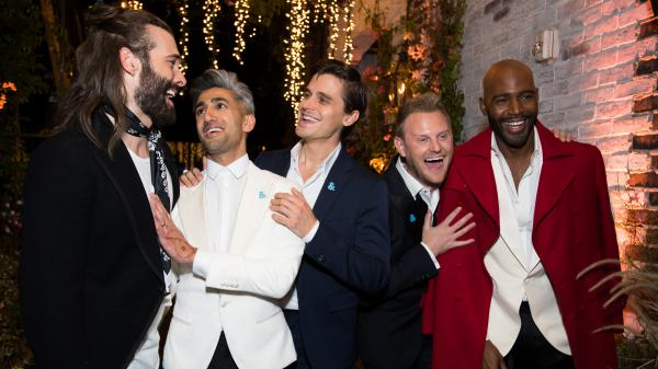 Jonathan Van Ness, Tan France, Antoni Porowski, Bobby Berk and Karamo Brown attend the after party for the premiere of Netflix's <em>Queer Eye</em> Season 1 at the Pacific Design Center in Los Angeles on Wednesday.