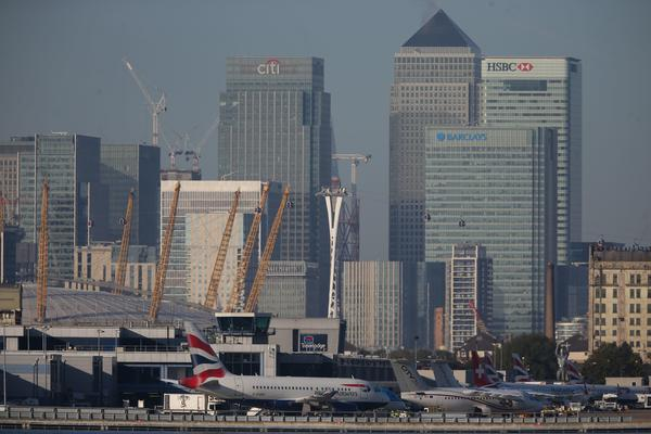 Flights from London City Airport, shown here last October, were closed Monday due to an unexploded World War II bomb.