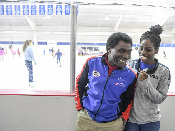 Biney laughs with her father, Kweku, in December. After visiting from Ghana at age 5, Maame stayed with him in the U.S. Her mother and brother still live in Ghana.