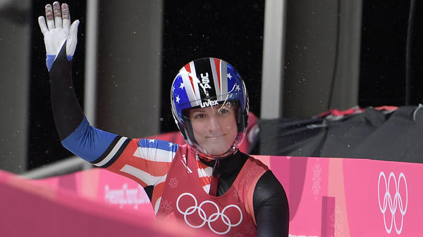 American luger Erin Hamlin wasn't able to repeat her medal win of 2014. Here, she gestures after her final run in the women's singles final at the Pyeongchang 2018 Winter Olympic Games on Tuesday.