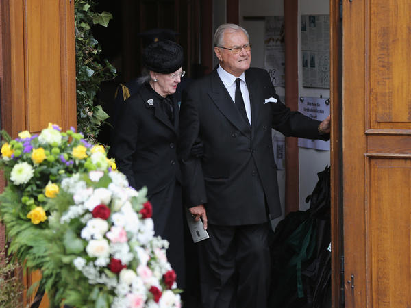 Queen Margrethe II of Denmark and Prince Henrik leave the funeral service for Prince Richard of Sayn-Wittgenstein-Berleburg in March in Bad Berleburg, Germany.