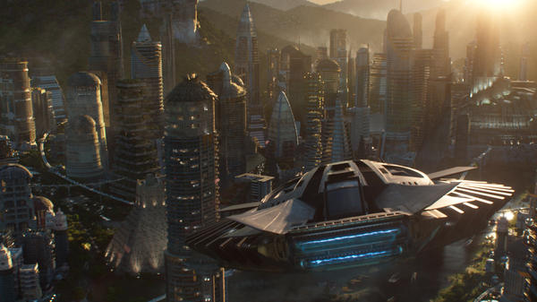 The Talon Fighter flies over Wakanda in <em>Black Panther</em>.